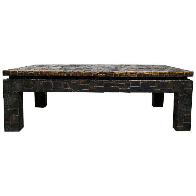 Brutalist Brass Clad Coffee Table By Maitland Smith For Sale At 1stdibs