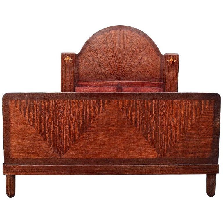 Art Deco English King-Size Bed with 'Sunray' Headboard