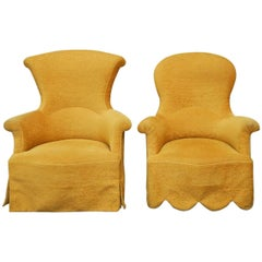 Pair of His and Hers Upholstered Armchairs by Rose Tarlow