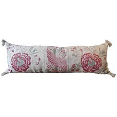 19th Century Antique French Printed Linen Long Pillow