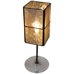 Table Lamp Made from Eight Glass Luxfer Tiles