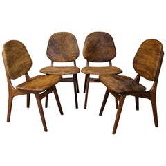 Arne Hovmand-Olsen Set of for Danish Teak Dining Chairs in Cowhide Upholstery