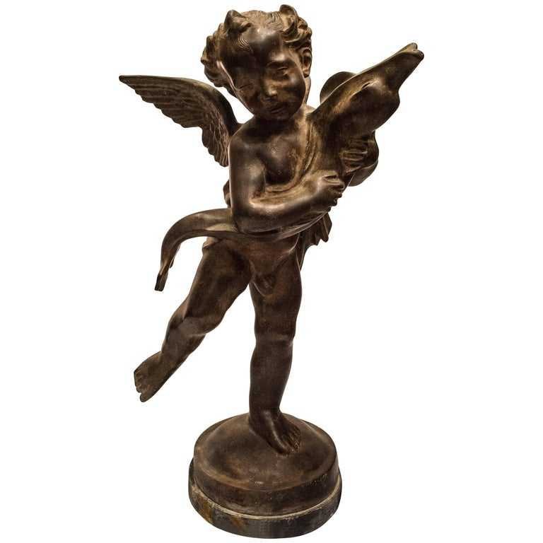 "Bronze Sculpture, ""An Ange with a Dolphin"",  French School of 19th Century"