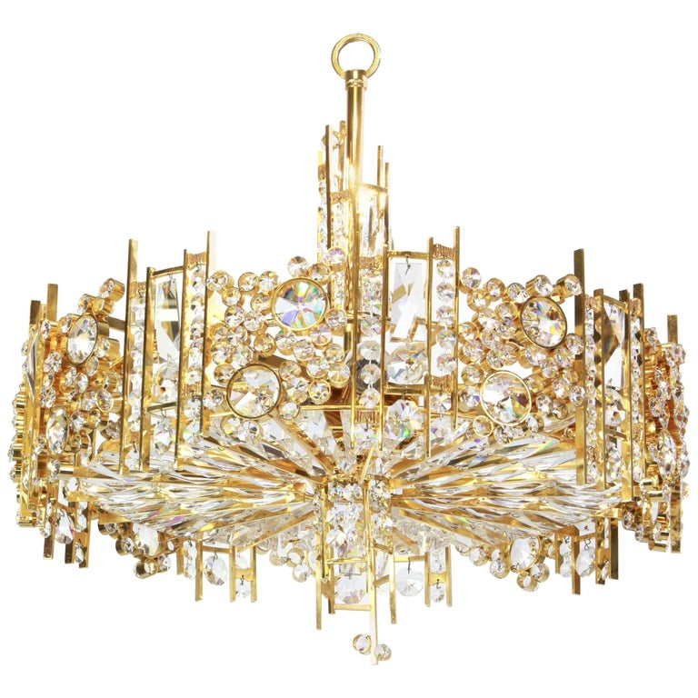Gilt Brass and Crystal Glass Encrusted Chandeliers by Palwa, Germany, 1970s