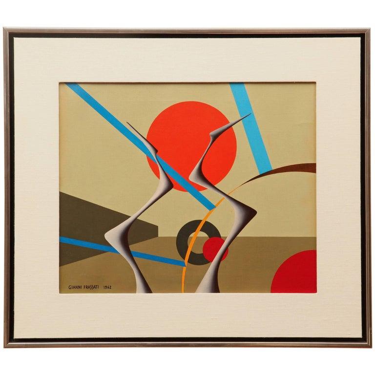 Gianni Frassati Abstract Geometric Painting, circa 1962