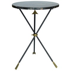 Italian Arrow Side Table with Nero Oro Marble Top