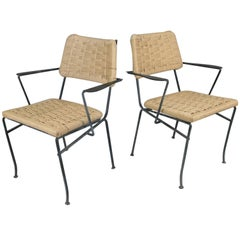 Pair of 1950s Iron and Woven Armchairs by Salterini