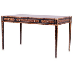 Chic Midcentury Pen Shell Three-Drawer Desk or Writing Table