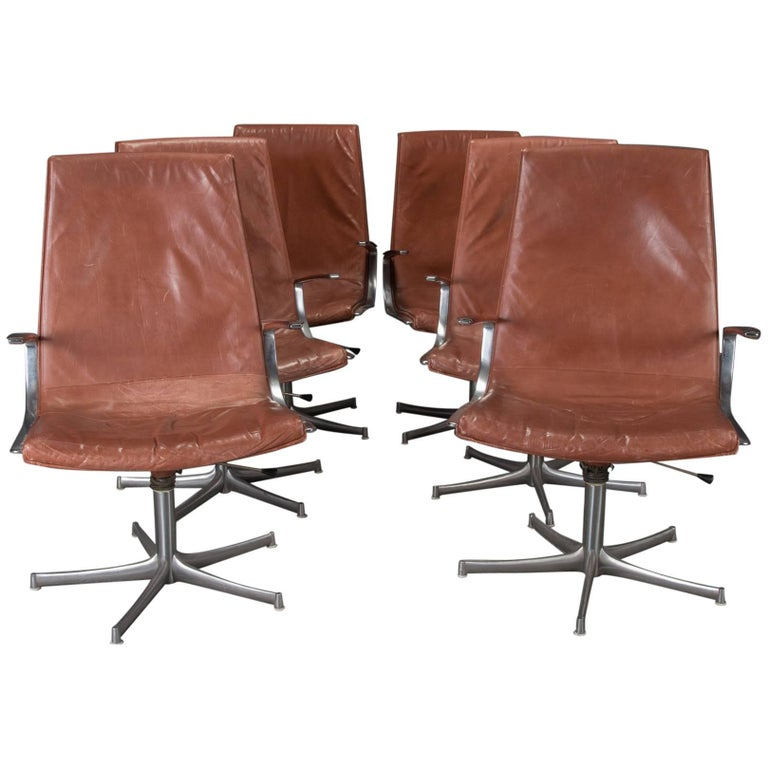Set of Six Armchairs in Chrome and Cognac Leather by Walter Knoll For Sale
