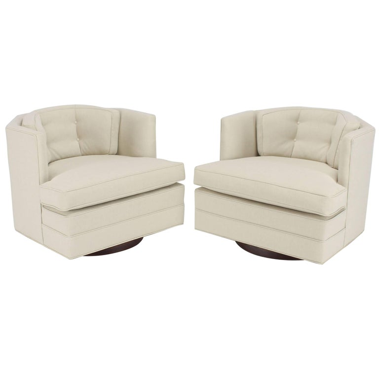Pair of Newly Upholstered Swivel Barrel Back Lounge Chairs