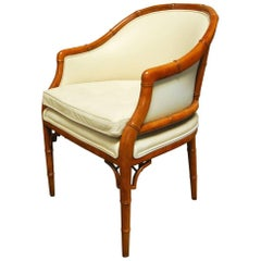 Mid-Century Faux Bamboo and Leather Barrel Back Armchair