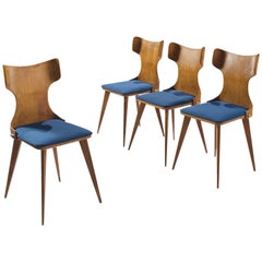 Carlo Ratti Four Bent Wingback Dining Chairs