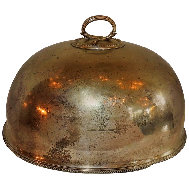 Antique Serving Silver Plated Meat Food Turkey Dome Cover Victorian Cloche Large For Sale