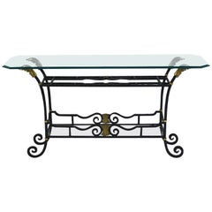 Regency-Style Wrought Iron Library Table