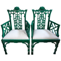 Pair of Chinese Chippendale Style Chairs