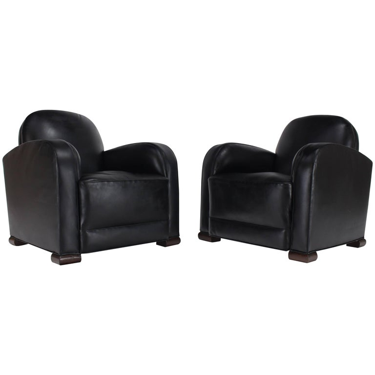 Pair of Black Leather Thick Arm Rests Lounge Deco Tank Chairs