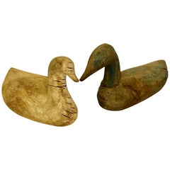 Two Scandinavian 19th Century Hand-Carved Folk Art Duck Decoys