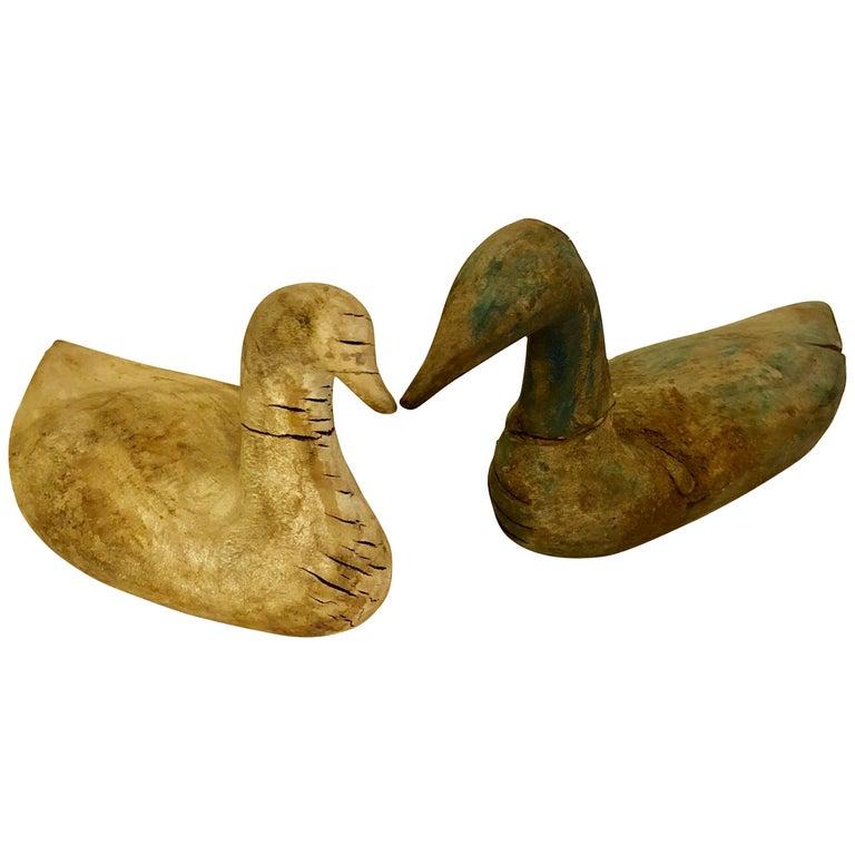 Two Scandinavian 19th Century Hand-Carved Folk Art Duck Decoys