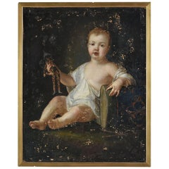 Early 19th Century Baroque Style Portrait Oil Painting of a Child