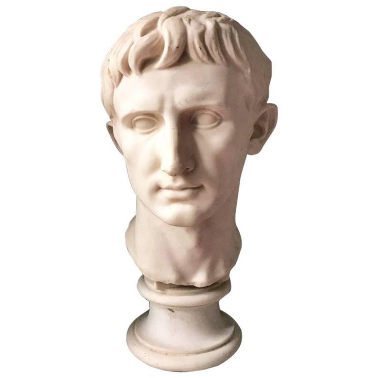 Plaster Bust of Emperor Augustus, Made in England For Sale