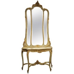 Antique Painted Console Table and Mirror from Italy, circa 1880