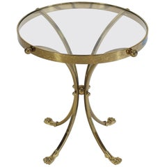 Brass and Glass Round Gueridon Center Table Pedestal