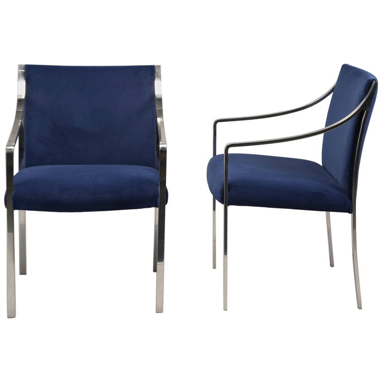 Pair of Midcentury Bert England for Stow Davis Steel Frame and Velvet Arm Chairs