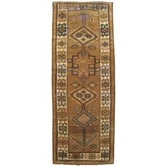 Antique Persian Serab Camel Hair Oriental Rug, in Runner Size with Tribal Design