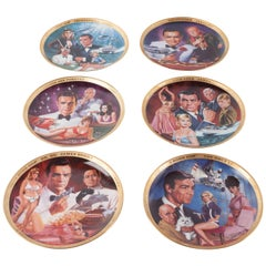 Franklin Mint Limited Edition Set of Six James Bond Plates by Dick Bobnick