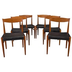 Set of Six Teak Danish Modern Dining Chairs by Henning Kjaernulf