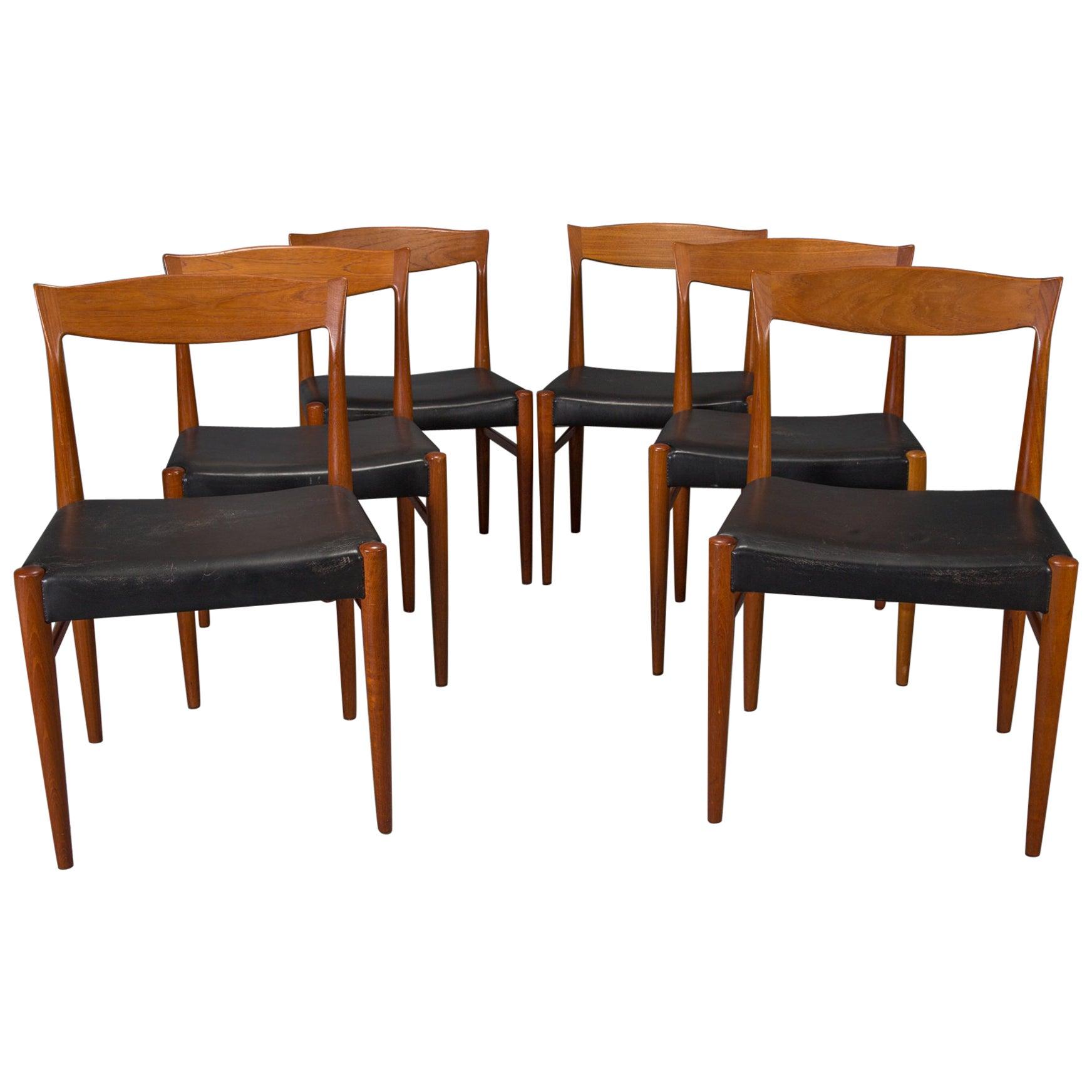 Set of Six Teak Danish Modern Dining Chairs by Henning Kjaernulf