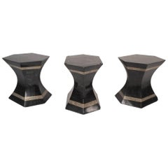 Set of Three Mid-Century Modern Black Tesselated Stone Pedestal Tables