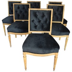 19th Century Louis XVI Original Painted Gold Set of Six Dining Chairs