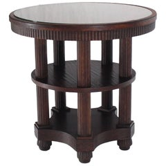 Fluted Legs Round Center Pedestal Gueridon Table Art Deco Arts and Crafts Oak