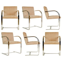 Brueton Flat-Bar Chrome Set of Six Dining Chairs, circa 1980