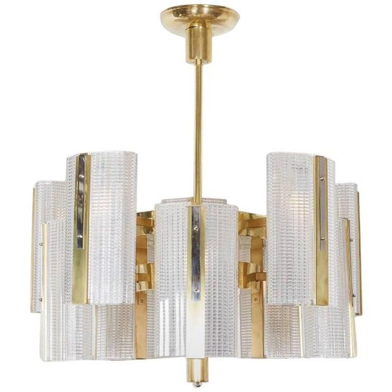 Huge Modernist Brass and Glass Ten-Arm Austrian Chandelier, Kalmar
