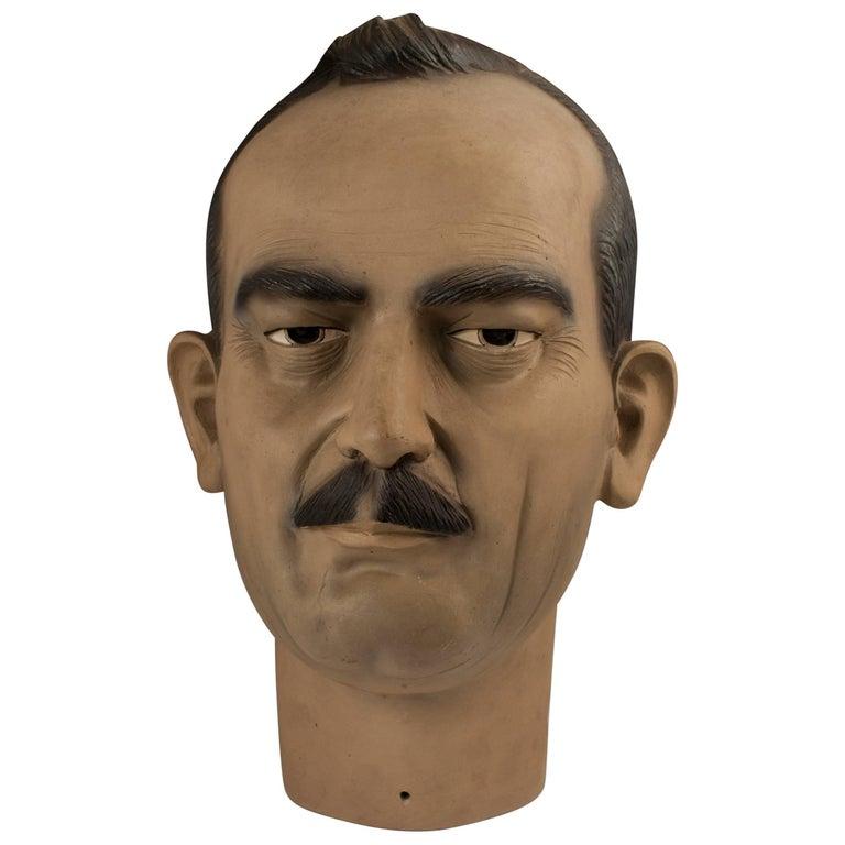 Midcentury Ceramic Folk Art Bust of Carlos Fuentes Macías, Mexico