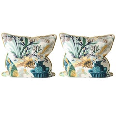 Pair of Pillows Upholstered in Brunschwig and Fils Fabric