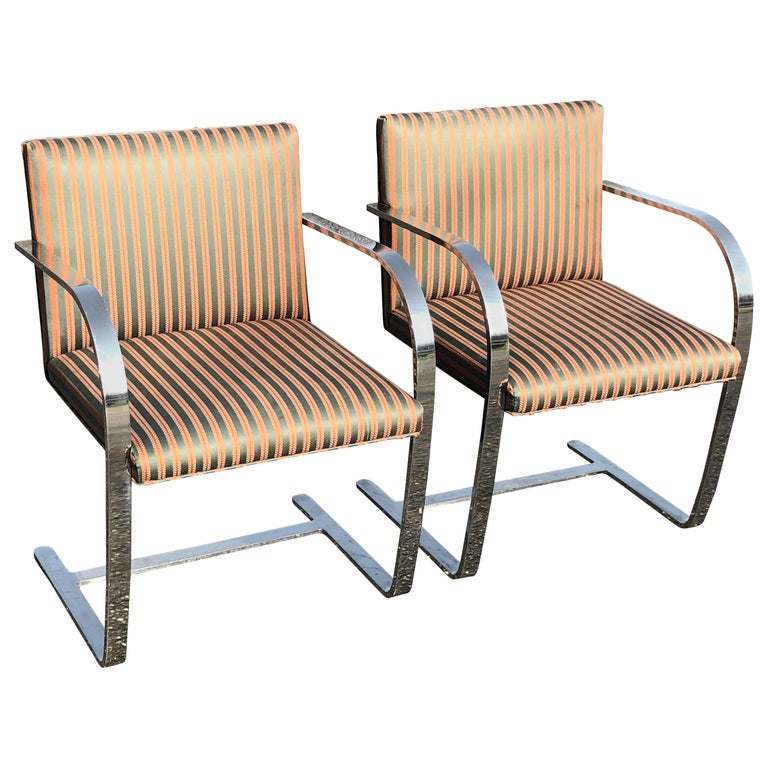 Pair of Flat Bar Brno Chairs attributed to Ludwig Mies van der Rohe for Knoll