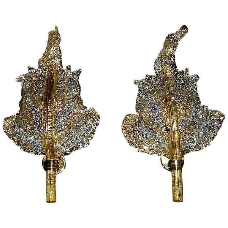 Signed Pair of Barovier & Toso Murano Art Glass Golden Floral Leaf Sconces 1970s