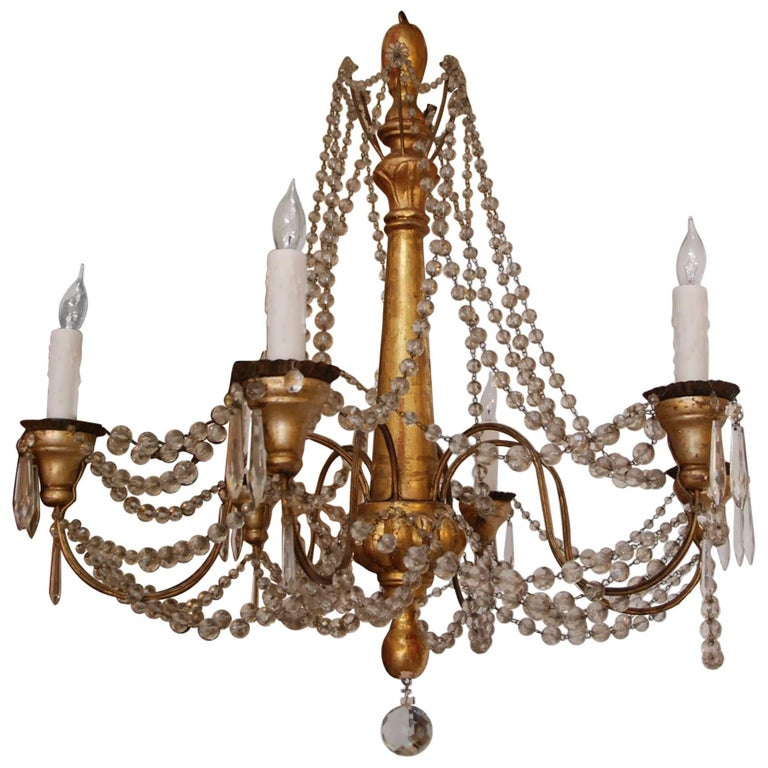 19th Century Italian Wood and Crystal Chandelier 1