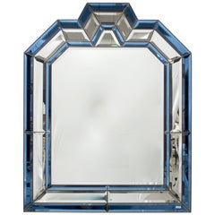 German Blue Edged and Beveled Art Deco Style Mirror