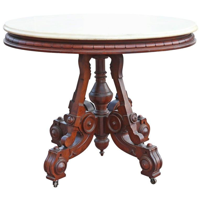 American Renaissance Revival Marble Top Side Table  For Sale