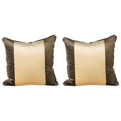 Pair of Stripe Pillows Upholstered in Kravet Velvet