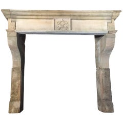 """French Louis XIII Style Fireplace """"Scottish Rite Symbol"""" in Limestone, France"""