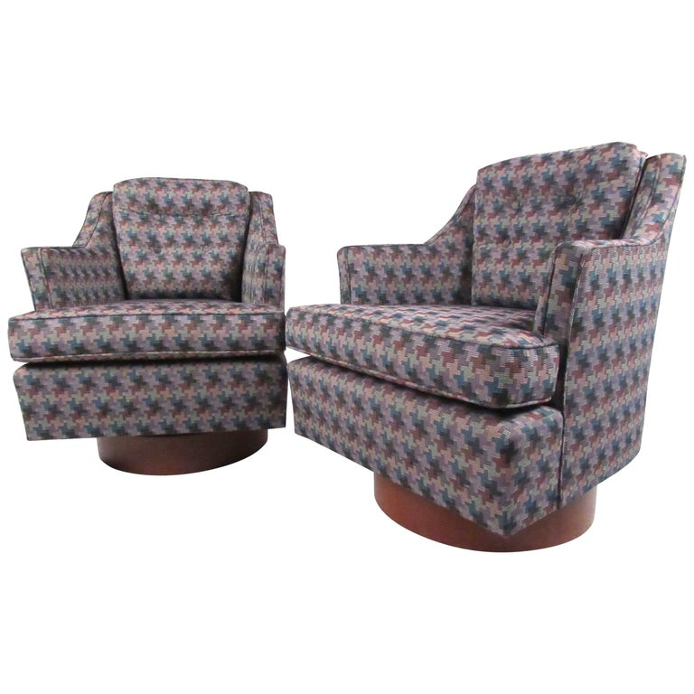Pair Stylish Modern Swivel Chairs