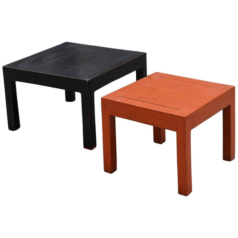 Orange and Black Two Parsons Tables Stools For Sale