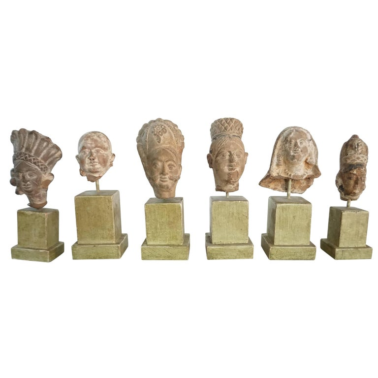 Collection of Six Ancient Indian Gandharan Period Terracotta Miniature Busts 1
