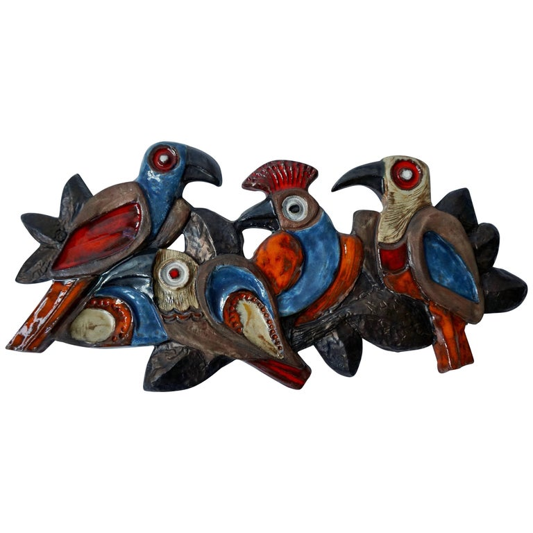 Ceramic Wall Sculpture with Birds For Sale