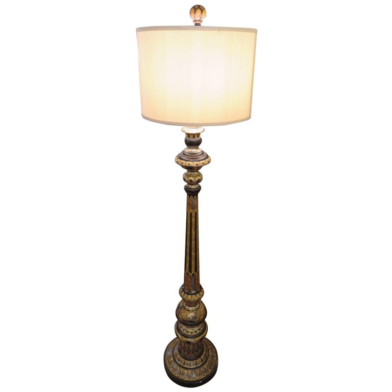 Hand-Carved Classical English  Decorated Floor Lamp For Sale